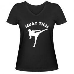 Женская футболка с V-образным вырезом Muay Thai - FatLine