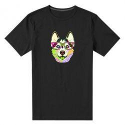 Чоловіча стрейчева футболка Multi-colored dog with glasses