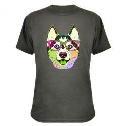 Камуфляжна футболка Multi-colored dog with glasses