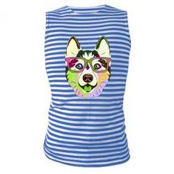 Майка-тільняшка Multi-colored dog with glasses