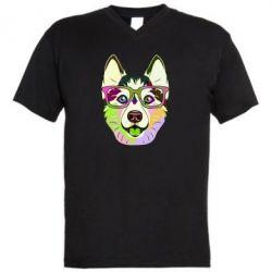 Чоловіча футболка з V-подібним вирізом Multi-colored dog with glasses