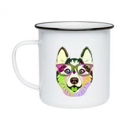 Кружка емальована Multi-colored dog with glasses