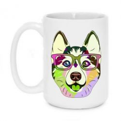 Кружка 420ml Multi-colored dog with glasses