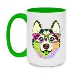 Кружка двоколірна 420ml Multi-colored dog with glasses