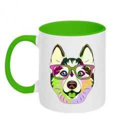 Кружка двоколірна 320ml Multi-colored dog with glasses