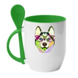 Кружка з керамічною ложкою Multi-colored dog with glasses