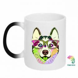Кружка-хамелеон Multi-colored dog with glasses