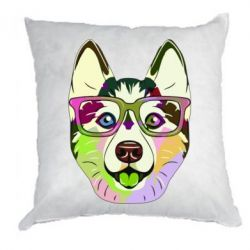 Подушка Multi-colored dog with glasses