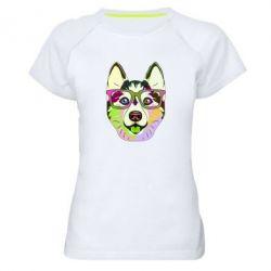 Жіноча спортивна футболка Multi-colored dog with glasses