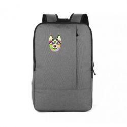 Рюкзак для ноутбука Multi-colored dog with glasses