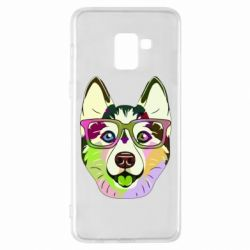 Чохол для Samsung A8+ 2018 Multi-colored dog with glasses