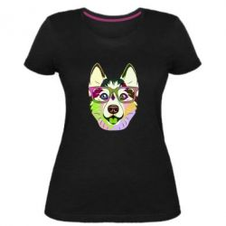Жіноча стрейчева футболка Multi-colored dog with glasses