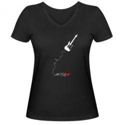 Женская футболка с V-образным вырезом Music love - FatLine