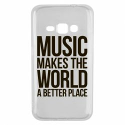 Чехол для Samsung J1 2016 Music makes the world a better place - FatLine