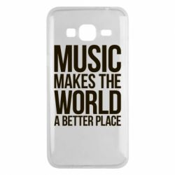 Чехол для Samsung J3 2016 Music makes the world a better place - FatLine