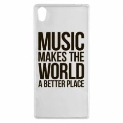 Чехол для Sony Xperia Z5 Music makes the world a better place - FatLine