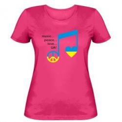 Женская футболка Music, peace, love UA - FatLine