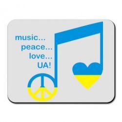 Коврик для мыши Music, peace, love UA - FatLine