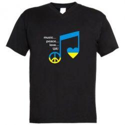 Мужская футболка  с V-образным вырезом Music, peace, love UA - FatLine