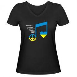 Женская футболка с V-образным вырезом Music, peace, love UA - FatLine