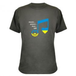 Камуфляжная футболка Music, peace, love UA - FatLine