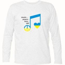 Футболка с длинным рукавом Music, peace, love UA - FatLine