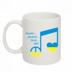 Кружка 320ml Music, peace, love UA - FatLine