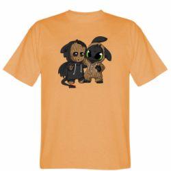 Мужская футболка Groot And Toothless