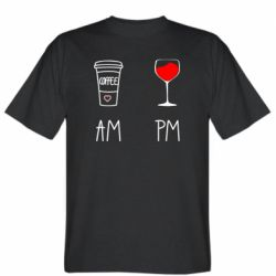 Чоловіча футболка Кофе и бокал с вином