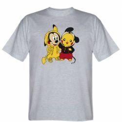 Мужская футболка Пикачу и Микки Маус