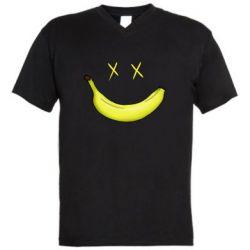 Мужская футболка  с V-образным вырезом Banana smile