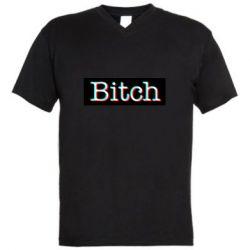 Мужская футболка  с V-образным вырезом Bitch glitch