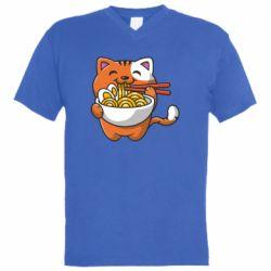 Чоловіча футболка з V-подібним вирізом Cat and Ramen