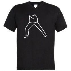 Чоловіча футболка з V-подібним вирізом Cat in pants