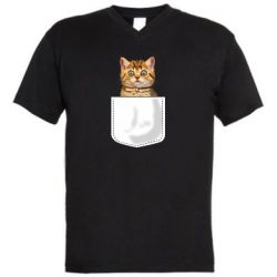 Мужская футболка  с V-образным вырезом Cat in your pocket