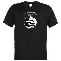 Мужская футболка  с V-образным вырезом Cats and love