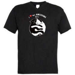 Мужская футболка  с V-образным вырезом Cats with a smile
