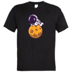 Чоловіча футболка з V-подібним вирізом Chilling on the Moon