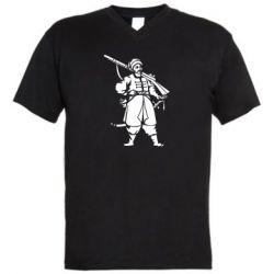 Мужская футболка  с V-образным вырезом Cossack with a gun