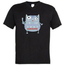 Мужская футболка  с V-образным вырезом Cute cat and text