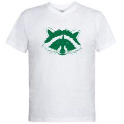 Чоловіча футболка з V-подібним вирізом Cute raccoon face