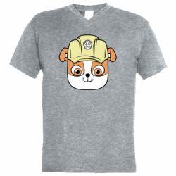 Чоловіча футболка з V-подібним вирізом Dog in helmet