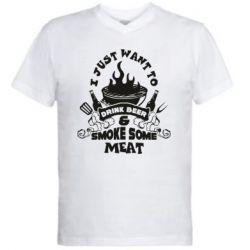 Чоловіча футболка з V-подібним вирізом Drink Beer And Smoke Some Meat