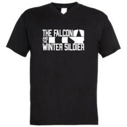 Чоловіча футболка з V-подібним вирізом Falcon and winter soldier logo