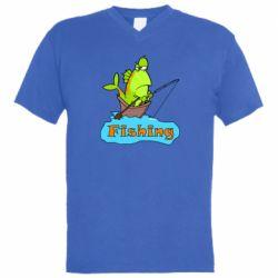 Мужская футболка  с V-образным вырезом Fish Fishing