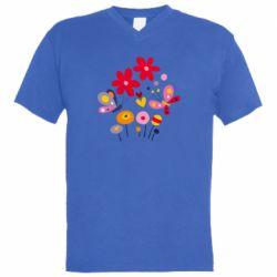 Мужская футболка  с V-образным вырезом Flowers and Butterflies