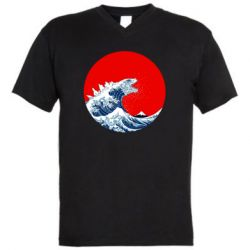 Чоловіча футболка з V-подібним вирізом Godzilla Wave