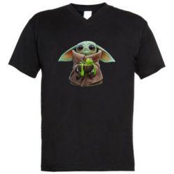 Чоловіча футболка з V-подібним вирізом Grogu and Kermit
