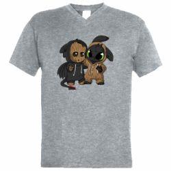 Мужская футболка  с V-образным вырезом Groot And Toothless