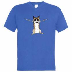 Мужская футболка  с V-образным вырезом Grumpy Cat On The Rope